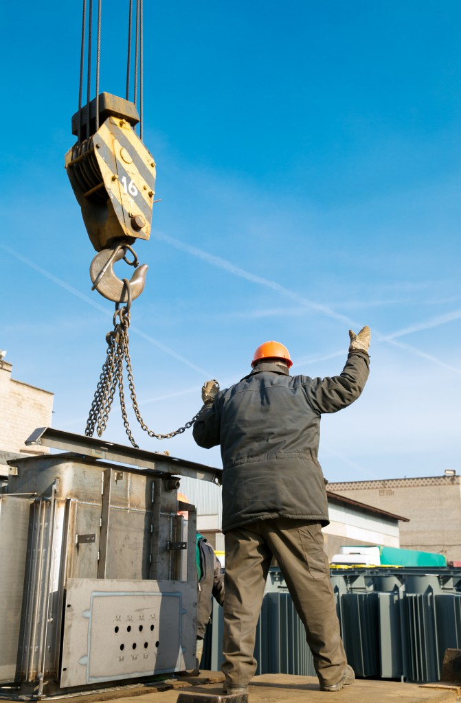 Loading and unloading cargo works with crane