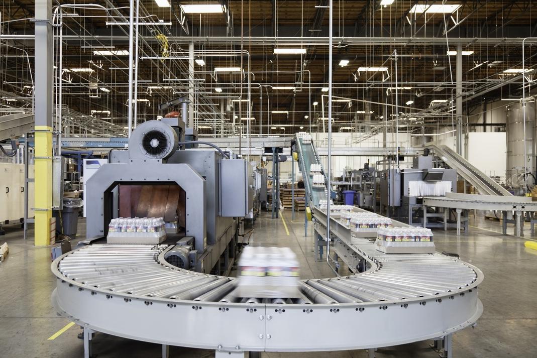conveyor belt in an industrial factory